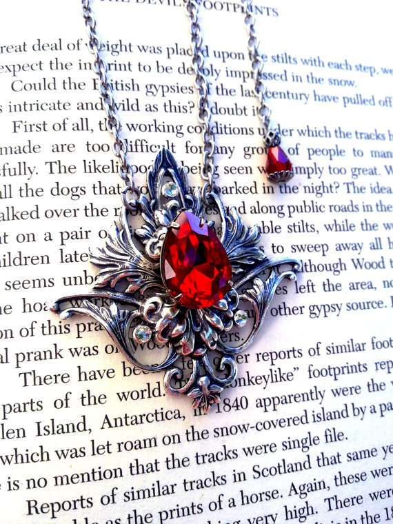 Gothic Silver Necklace Red Crystal Jewels by ApplebiteJewelry