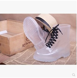 Online shop 2015 crystal jelly shoes flat martin rainboots fashion transparent perspective rain boots water whoes women's shoes candy color