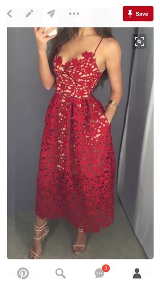 dress red dress lace dress homecoming dress red lace dress midi dress