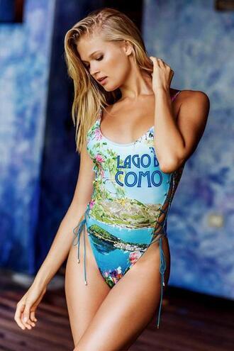 swimwear blue cheeky one piece swimsuit tie side one piece womens sauvage bikiniluxe