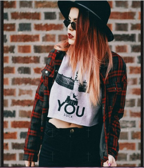 vintage shirt top blogger fashion ootd you sunglasses hat crop tops