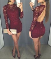 dress,bodycon party dresses,burgundy prom dresses,with bodice long sleeve