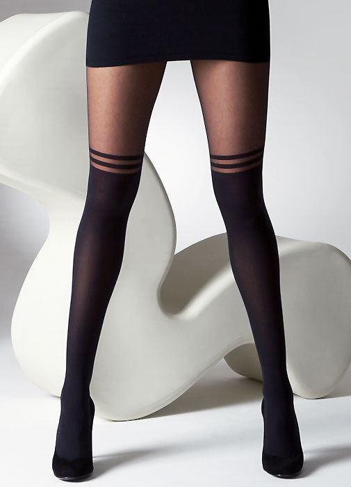 New Gipsy Mock Over The Knee With Double Stripe Black Coloured Tights Hosiery