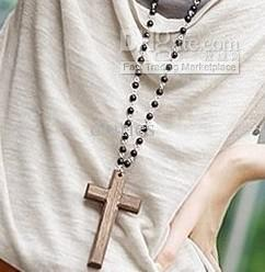 Buy fashion vintage beads wooden cross necklace super deals necklace for girls $3.24