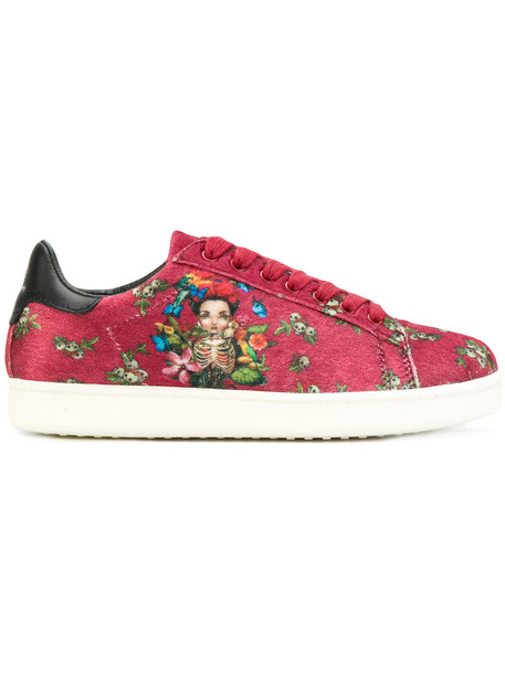 Moa Master Of Arts - Soumaya sneakers - women - Velvet/Leather/Cotton/rubber - 36, Red, Velvet/Leather/Cotton/rubber