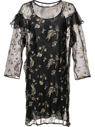 dress ruffle dress sheer ruffle women black silk