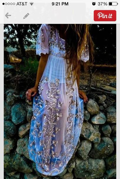 dress blue dress boho boho chic embelished dress maxi dress