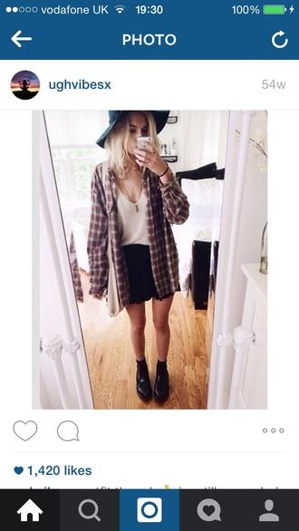shirt outfit flannel shirt boots crop tops skirt skorts short tumblr fashion