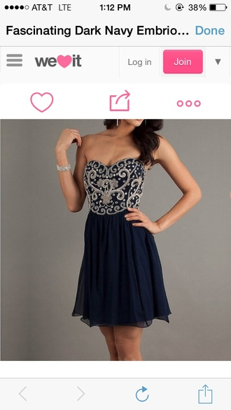 beaded dress homecoming dress blue dress navy unique champagne