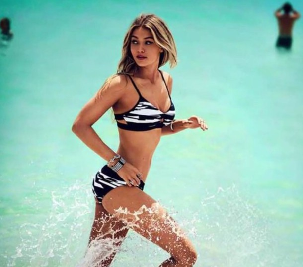 swimwear gigi hadid black and white cool bikini fashion style trendy hot summer beach rose wholesale-jan rose wholesale celebrity style