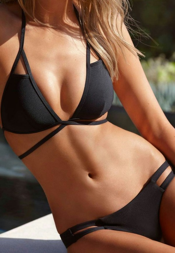 swimwear swimwear black bikini swimwear fashion straps summer cute strappy bathing suit strappy bikini cut out bikini