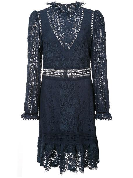 SEA dress women lace cotton blue crochet