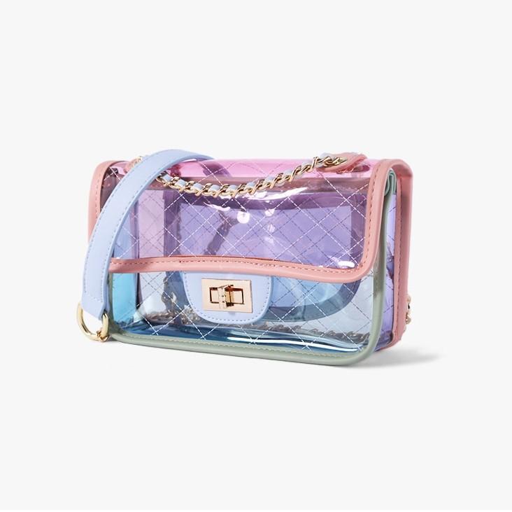 Pink Clear Purse Cute Chain Bag Transparent Cross-body Fashion Bags