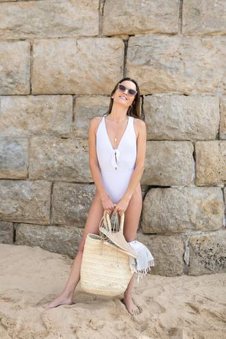 swimwear tumblr one piece swimsuit white swimwear bag beach bag sunglasses summer summer holidays summer accessories necklace