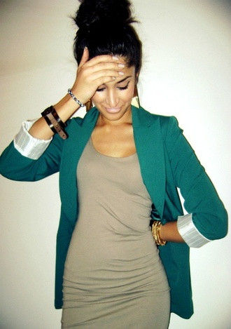 dress teal nude dress blazer jewels brown dress green sweater gold and brown bracelets jacket