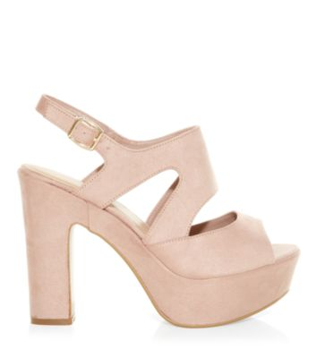 Wide Fit Stone Cut Out Chunky Peep Toe Heels