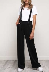 Mustard Seed Loose-Fitting High-Rise Pants with Suspenders in Black S13635-BLK