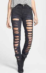 Levi Shredded Black High Waist Skinny Jeans | eBay