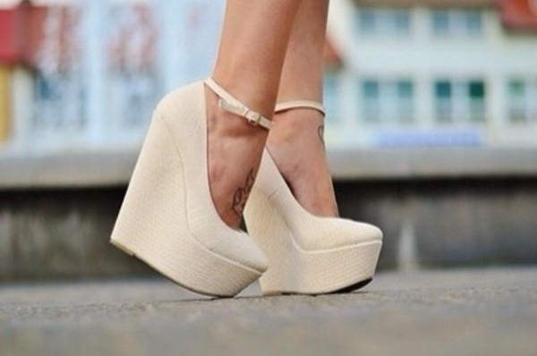shoes wedges cream high heels summer shoes