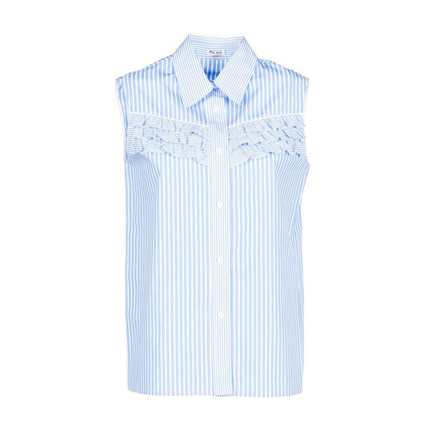 Miu Miu shirt striped shirt light blue light blue top
