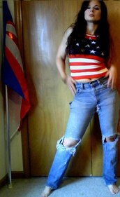 jeans,levis jeans,striped top,american flag crop top,traci kochendorfer