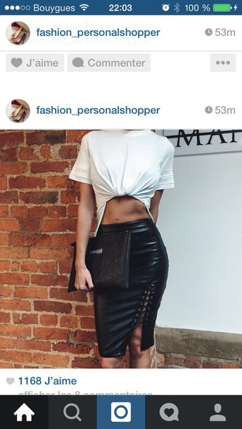 skirt black skirt leather leather skirt black leather skirt midi skirt bodycon skirt top white t-shirt crop tops cropped black and white