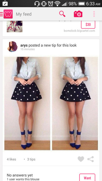 polka dots navy blue skirt