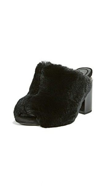 Alexander Wang fur mules black shoes