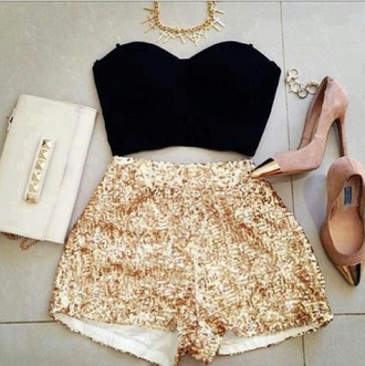 shorts sequins shorts gold sequins shorts black bralette black corset black bustier golf tipped heels gold and neutral heels faded pink heels studded clutch white studded clutch tank top