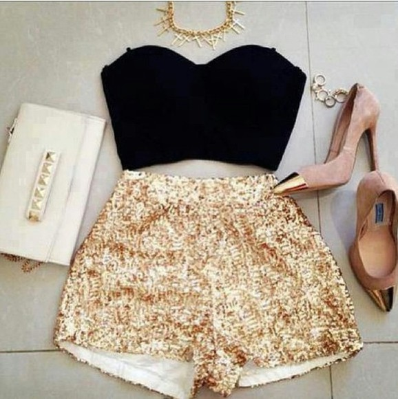 shorts tank top black bustier black bralette sequins shorts gold sequins shorts black corset golf tipped heels gold and neutral heels faded pink heels studded clutch white studded clutch