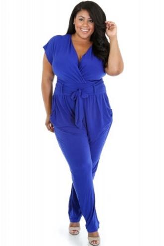 jumpsuit blue belted wots-hot-right-now blue jumpsuit curvy plus size belted jumpsuit celebrity style plus size dress curvy ladies party jumpsuit