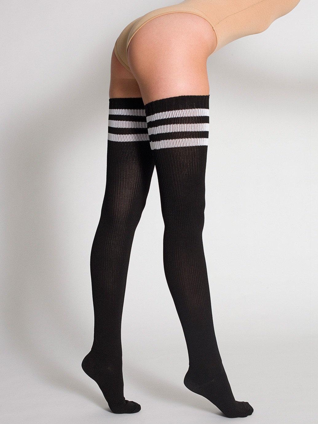 Striped Thigh High Stockings, White & Red Joy of Socks