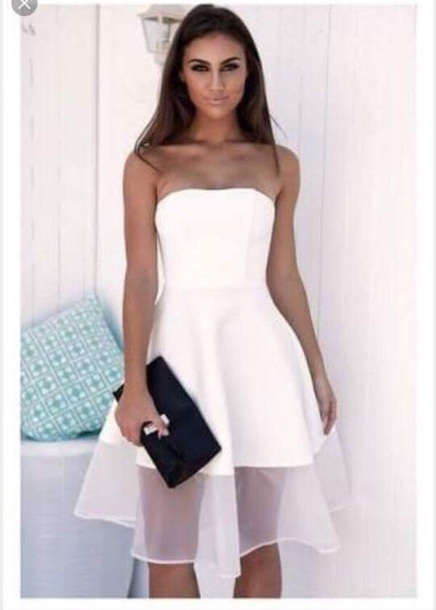 Dress: white dress, white, strapless, white strapless dress ...