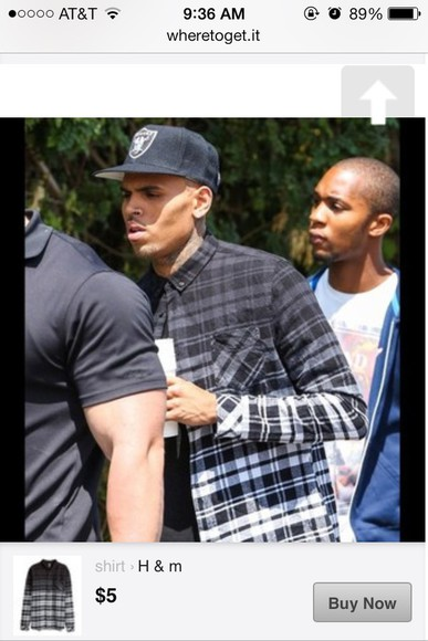 chris brown flannel faded plaid h&m