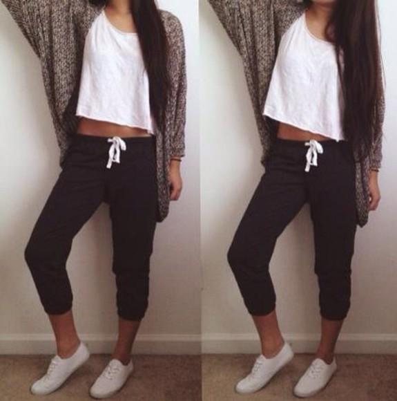 sweatpants nice cardigan pants sweatpants shirt sweater shoes