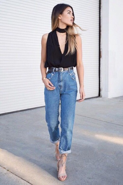 jeans,cuffed jeans,straight jeans,black top,sexy top,nude sandals,date outfit,outfit idea,summer outfits,v neck,sandal heels,jewels,absolutemarket,blue jeans,top,choker top,sleeveless top,sandals,high heel sandals,grey sandals