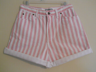 shorts candy shorts pink pretty cute pants high waisted mini shorts short stripes white