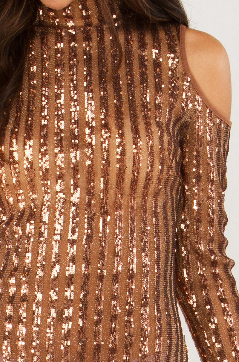 abc77c08 Sheer and Sequin Panel Dress With Shoulder Cutouts in Black and ...