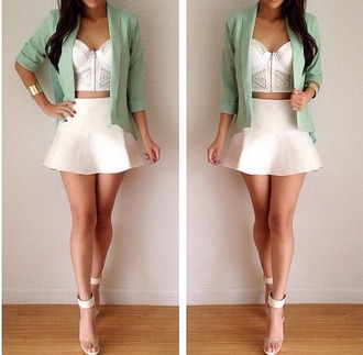 jacket blazer bustier spring mint heels high waist skirts white crop tops crop tops skirt tank top blouse same as the pic please