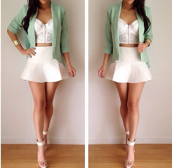 jacket blazer bustier spring mint mint heels high waist skirts white crop tops crop tops skirt tank top blouse same as the pic please