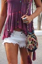 shirt,purple,purple shirt,pink,tie dye,bag,blouse,t-shirt,shorts,fashion,color/pattern,purse,grunge,top,peplum,grunge t-shirt,boho chic,boho,style,tank top,white shorts,hot pants,jewels,summer