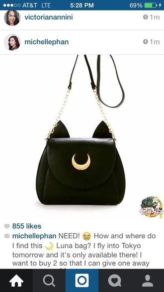 bag black sailor moon purse satchel bag moon fashion kawaii cute girly outfit teenagers cats luna chain bag