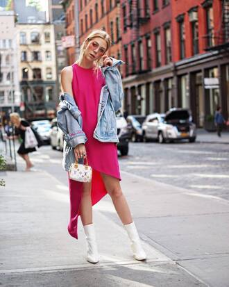 dress tumblr pink dress asymmetrical boots ankle boots white boots bag jacket denim jacket denim blue jacket