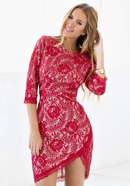Red Floral Lace Sheath Dress