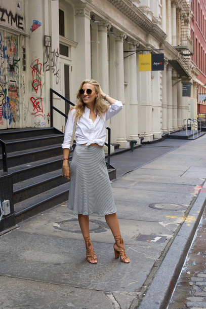 mind body swag blogger sunglasses bag jewels white blouse button up grey skirt thick heel round sunglasses caged sandals reformation
