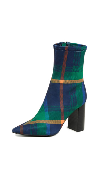 Jeffrey Campbell Siren Block Heel Boots in blue / green