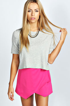 Wendy Wrap Front Ponte Skort at boohoo.com