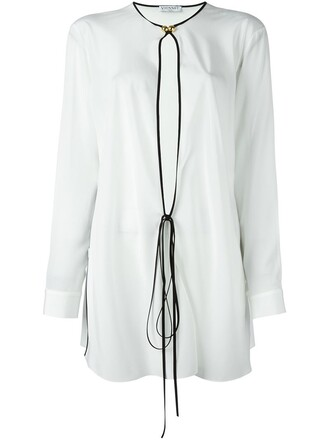 blouse tie front white top
