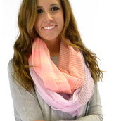 scarf,infinity scarf,pink and purple,stripes,pretty,spring colors,spring outfits,lightweight