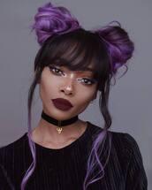 hair accessory,tumblr,hair,hairstyles,hair bun,purple hair,make-up,red lipstick,lipstick,dark lipstick,eye makeup,eyeliner,eye shadow,choker necklace,black choker